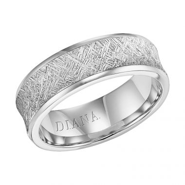 Diana 14K White Gold Comfort Fit Artisan Concave Broken Edge Wedding Band