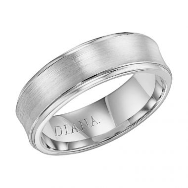 Diana 14K White Gold Comfort Fit Brush Concave Broken Edge Wedding Band