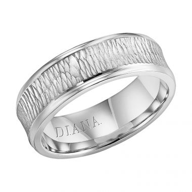 Diana 14K White Gold Comfort Fit Hammer Concave Broken Edge Wedding Band