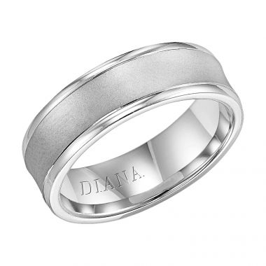 Diana 14K White Gold Comfort Fit Lustre Concave Broken Edge Wedding Band