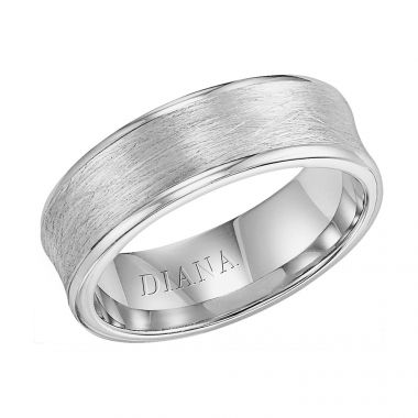 Diana 14K White Gold Comfort Fit Wire Concave Broken Edge Wedding Band