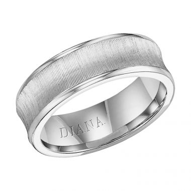 Diana 14K White Gold Comfort Fit Vertic Concave Broken Edge Wedding Band