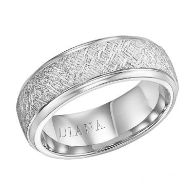 Diana 14K White Gold Comfort Fit Artisan LD W/RD STP Edge Wedding Band