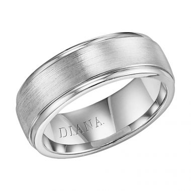 Diana 14K White Gold Comfort Fit Brush LD W/RD STP Edge Wedding Band