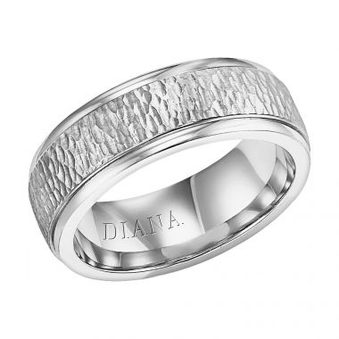Diana 14K White Gold Comfort Fit Hammer LD W/RD STP Edge Wedding Band