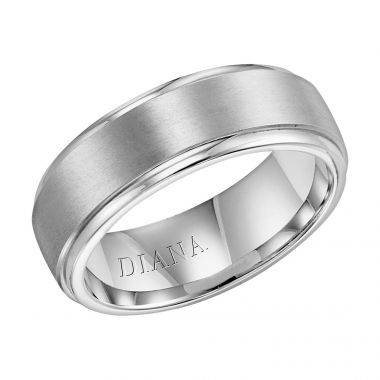 Diana 14K White Gold Comfort Fit Lustre LD W/RD STP Edge Wedding Band