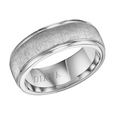 Diana 14K White Gold Comfort Fit Vertic LD W/RD STP Edge Wedding Band