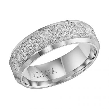Diana 14K White Gold Comfort Fit Artisan Beveled Edge Wedding Band