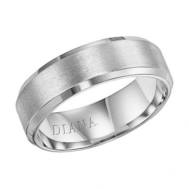 Diana 14K White Gold Comfort Fit Brush Beveled Edge Wedding Band