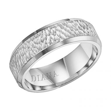 Diana 14K White Gold Comfort Fit Micro Hammer Edge Wedding Band