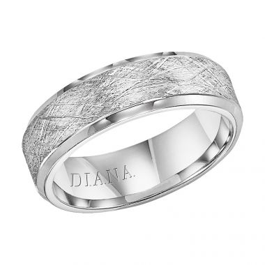 Diana 14K White Gold Comfort Fit Wire Beveled Edge Wedding Band