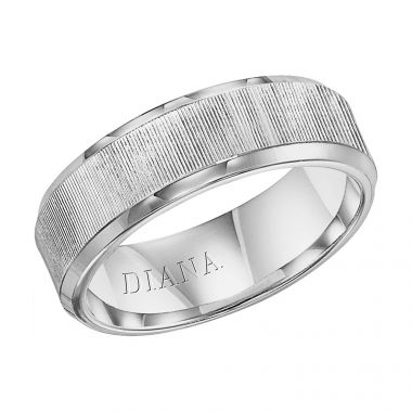 Diana 14K White Gold Comfort Fit Vertical Beveled Edge Wedding Band