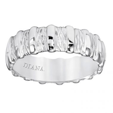 Diana 14K 7mm White Gold Soft Sand Band Wedding Band