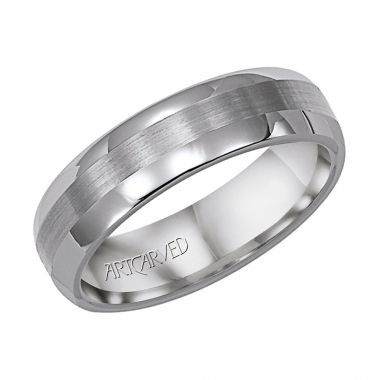 ArtCarved White Tungsten Carbide 6mm Comfort Fit Wedding Band