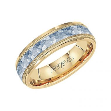 ArtCarved 14k Two Tone Gold Men's Hammered Center Wedding Band