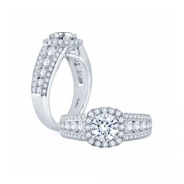 Fire & Ice Aria Diamond Halo Engagement Ring