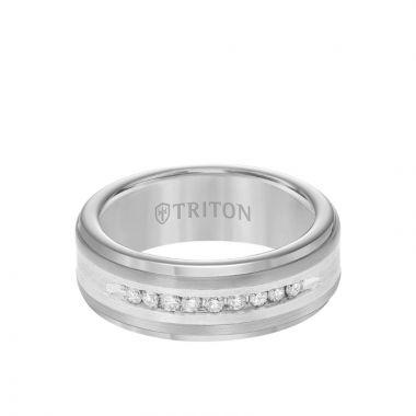 Triton Grey Tungsten Carbide Diamond Wedding Band