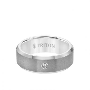 Triton Grey Tungsten Carbide Diamond Wedding Band