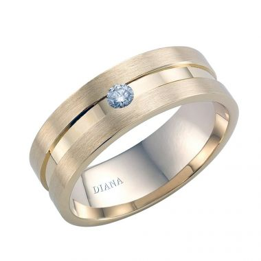 Diana 14K Yellow Gold Satin Finish and Diamond Detail Engraved Comfort Fit Wedding Band