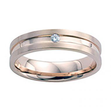 Diana 14K Rose Gold Satin Finish and Diamond Detail Engraved Comfort Fit Wedding Band