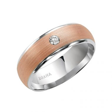 Diana 14K White & Rose Gold Comfort Fit Carbide Finish and Diamond Detail Wedding Band