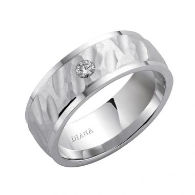 Diana 14K White Gold Textured Finish and Diamond Detail Engraved Comfort Fit Wedding Band