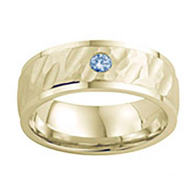 Diana 14K Yellow Gold Textured Finish and Diamond Detail Engraved Comfort Fit Wedding Band