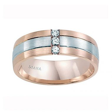 Diana 14K Rose & White Gold Satin Finish and Diamond Detail Two-toned Comfort Fit Wedding Band
