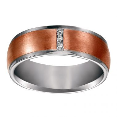 Diana 14K White & Rose Gold Diamond Detail Two-toned Comfort Fit Wedding Band