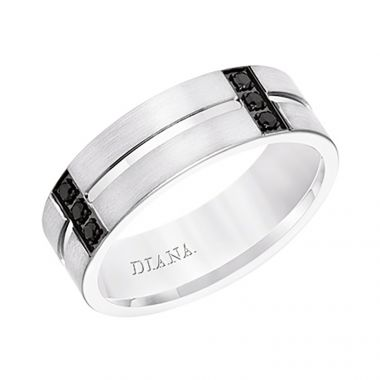 Diana 14K White Gold Satin Finish and Low Dome with Flat Edges Men's Diamond Wedding Band