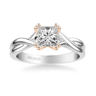 ArtCarved Solitude Contemporary Solitaire Twist Diamond Engagement Ring in 18k White and Rose Gold