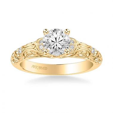 ArtCarved Peyton Vintage Side Stone Diamond Engagement Ring in 14k Yellow Gold