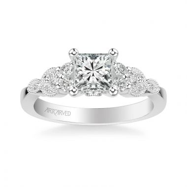ArtCarved Adeline Contemporary Side Stone Floral Diamond Engagement Ring in 14k White Gold