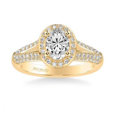 ArtCarved Ariel Classic Oval Halo Diamond Engagement Ring in 18k Yellow Gold
