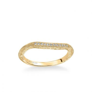 ArtCarved Angel Vintage Diamond and Milgrain Engraved Wedding Band in 14k Yellow Gold