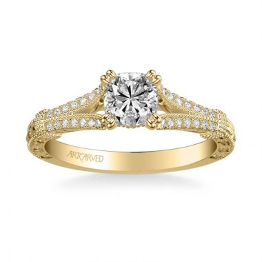 ArtCarved Angelina Vintage Side Stone Diamond Engagement Ring in 14k Yellow Gold