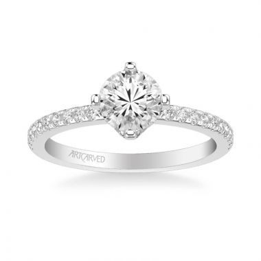 ArtCarved Ashlyn Classic Side Stone Diamond Engagement Ring in 18k White Gold