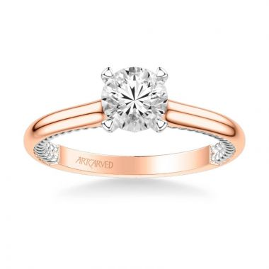 ArtCarved Cameron Contemporary Solitaire Rope Diamond Engagement Ring in 14k Rose and White Gold
