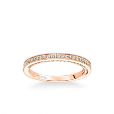 ArtCarved Marlow Contemporary Diamond and Rope Wedding Band in 14k Rose Gold