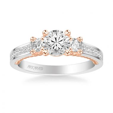ArtCarved Marlow Contemporary Three Stone Rope Diamond Engagement Ring in 18k White and Rose Gold