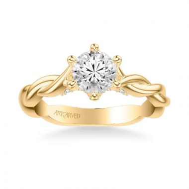 ArtCarved Tala Contemporary Solitaire Twist Diamond Engagement Ring in 18k Yellow Gold