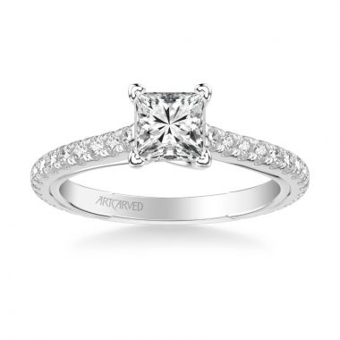 ArtCarved Carmen Contemporary Side Stone Twist Diamond Engagement Ring in 18k White Gold