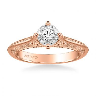 ArtCarved Jessamine Vintage Solitaire Heritage Collection Diamond Engagement Ring in 14k Rose Gold