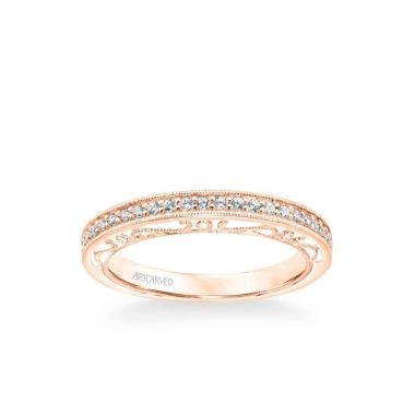 ArtCarved Indra Vintage Heritage Collection Diamond and Milgrain Filigree Scrollwork Wedding Band in 14k Rose Gold