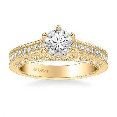 ArtCarved Cossette Vintage Side Stone Heritage Collection Diamond Engagement Ring in 14k Yellow Gold