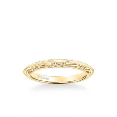 ArtCarved Audriana Vintage Heritage Collection Milgrain Filigree Scrollwork Wedding Band in 18k Yellow Gold