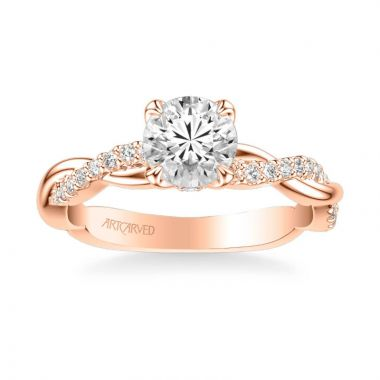 ArtCarved Daffodil Contemporary Side Stone Floral Diamond Engagement Ring in 14k Rose Gold