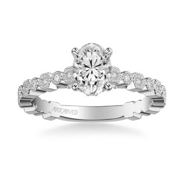 ArtCarved Louisa Vintage Side Stone Diamond Engagement Ring in 18k White Gold