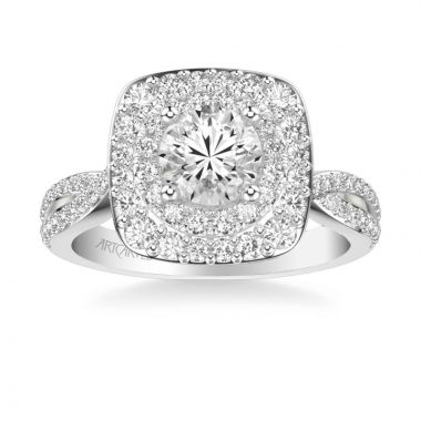 ArtCarved Platinum Kendra Contemporary Double Cushion and Round Halo Twist Diamond Engagement Ring