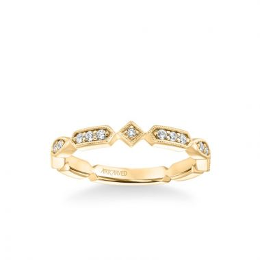 ArtCarved Stackable Band with Diamond and Milgrain Alternating Multi-Shape Design in 18k Yellow Gold